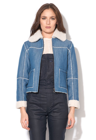 Jacheta albastra din denim cu captuseala de teddy Saffie