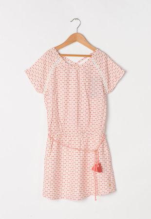 Rochie alb cu nuante de rosu