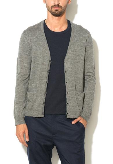 Cardigan gri de lana cu detalii contrastante de la United Colors Of Benetton
