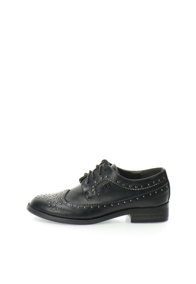 Pantofi derby Oxford negri cu tinte