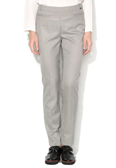 Pantaloni alb cu gri inchis si model houndstooth de la Esprit