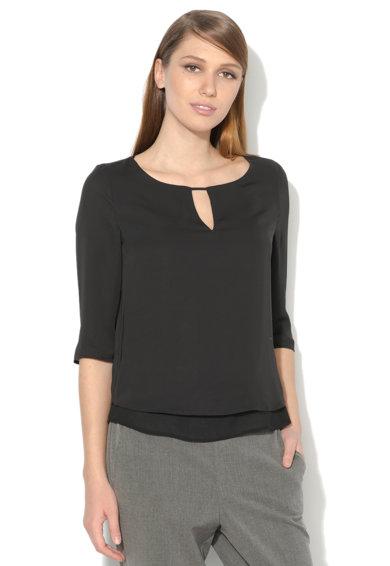 Bluza vaporoasa neagra stratificata de la Esprit