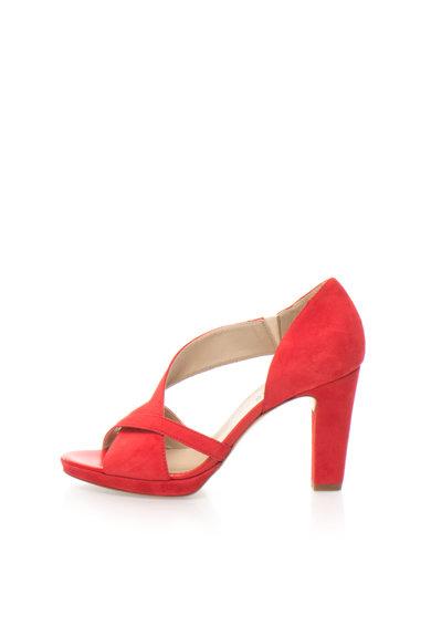 Sandale d`Orsay rosii de piele intoarsa cu barete de la Zee Lane