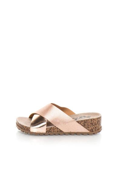 Papuci auriu rose cu talpa cu aspect de pluta de la XTI
