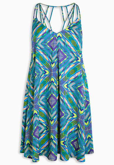 Rochie mini albastra cu imprimeu geometric de la NEXT