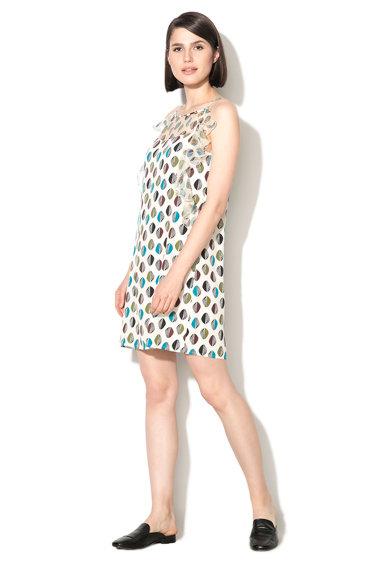 Rochie dreapta alb unt cu albastru si model grafic de la Sisley