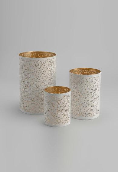 Set de suporturi alb cu auriu pentru lumanari – 3 piese de la Amadeus