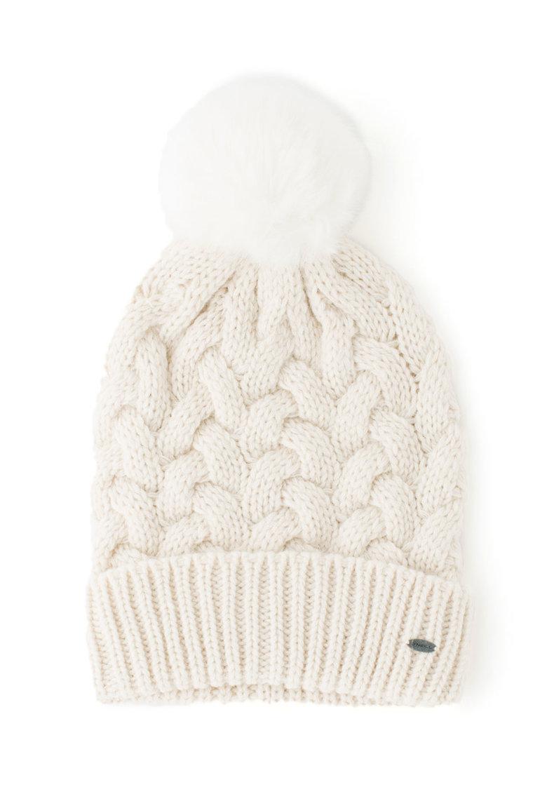 O'Neill – Caciula elastica din amestec de lana alpaca cu ciucure din blana sintetica Nora de la ONeill