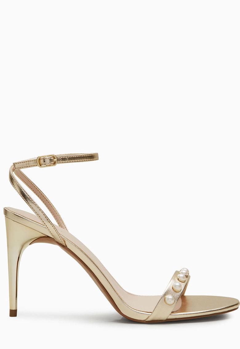 Sandale slingback metalizate cu perle NEXT