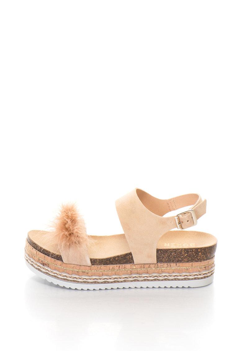 Sandale flatform de piele intoarsa cu pene