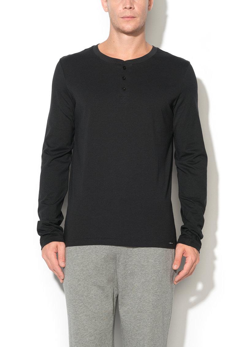 Bluza neagra cu nasturi Recreate Sleep de la Skiny
