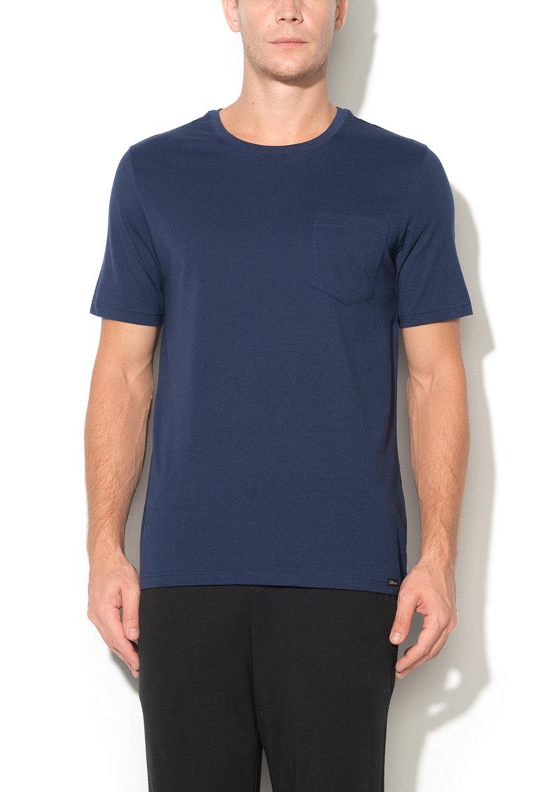 Tricou bleumarin cu buzunar Recreate Sleep