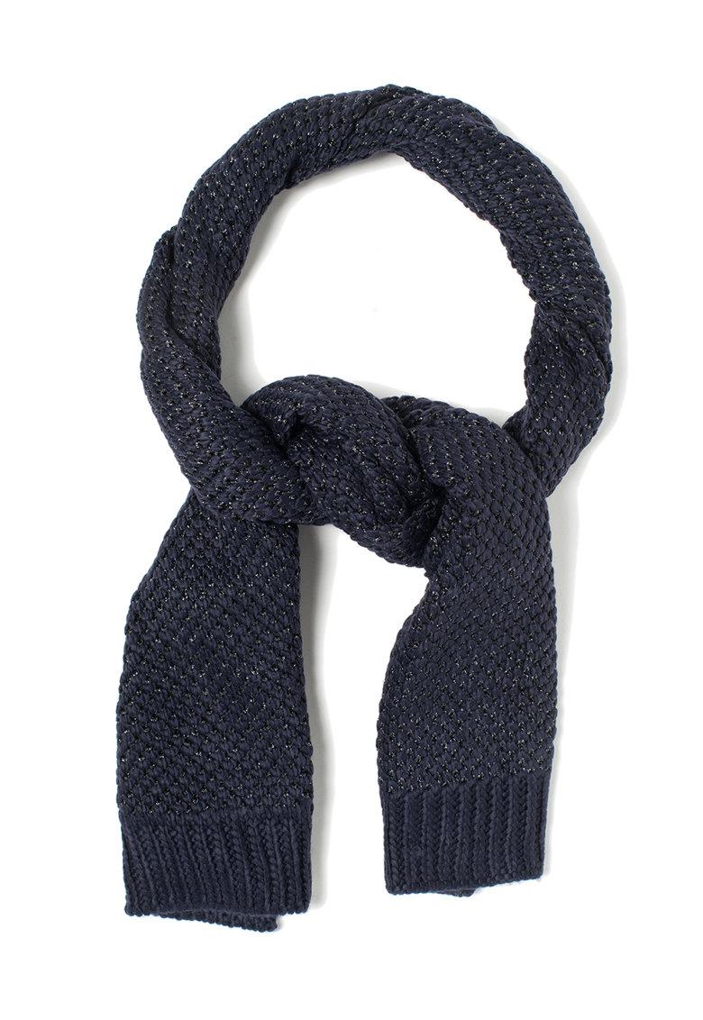 Fular tricotat albastru indigo cu fir argintiu Fen de la Pepe Jeans London