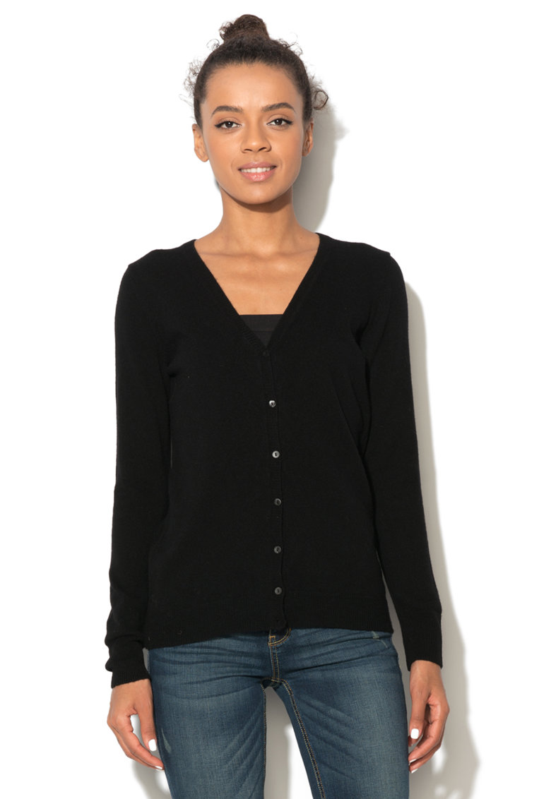 United Colors of Benetton Cardigan negru din lana tricotat fin
