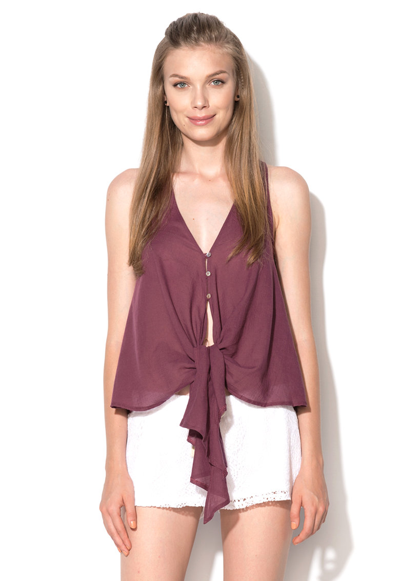Undercolors of Benetton Top violet pruna cu nod