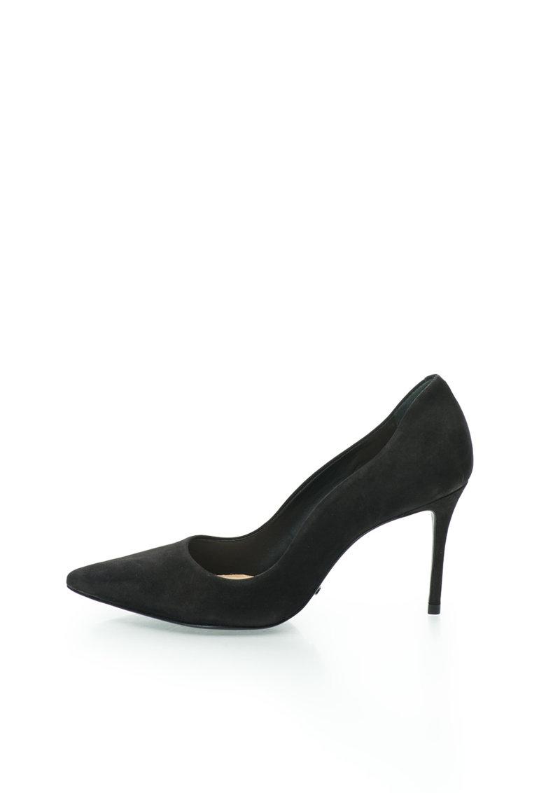 Schutz Pantofi negri de piele nabuc cu varf ascutit