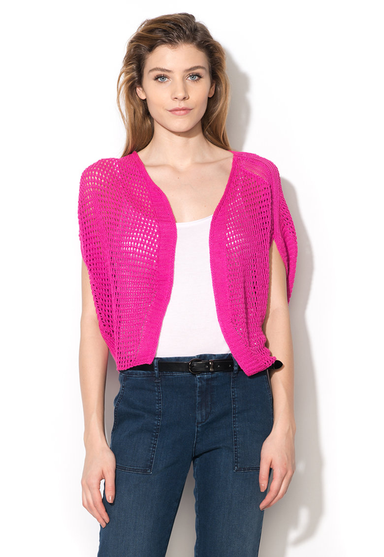United Colors Of Benetton Cardigan fuchsia lejer fara inchidere si cu maneci ample