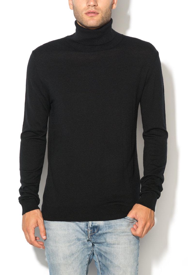 Bluza lunga neagra cu guler inalt de la United Colors of Benetton 10VRU2094-100
