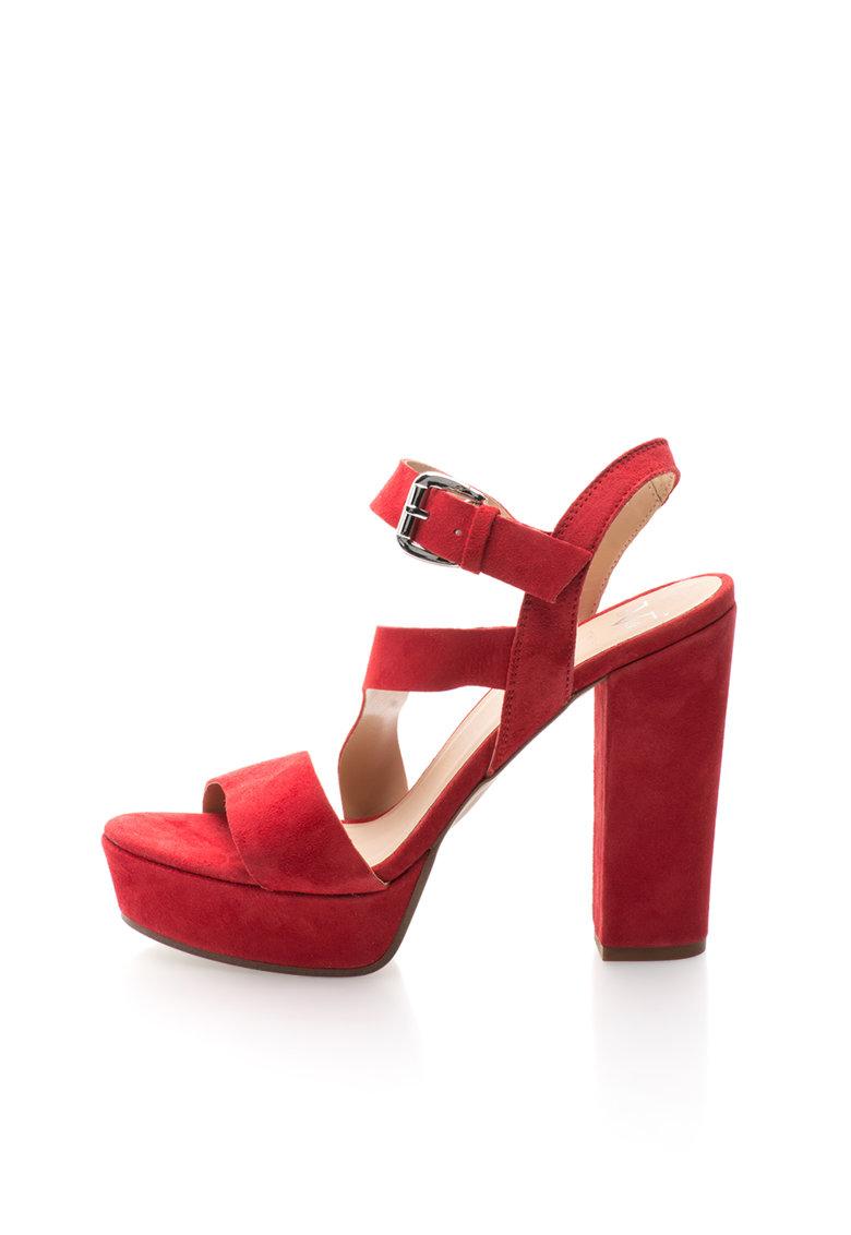 Versace 1969 Abbigliamento Sportivo Sandale rosii de piele intoarsa cu toc masiv Lison