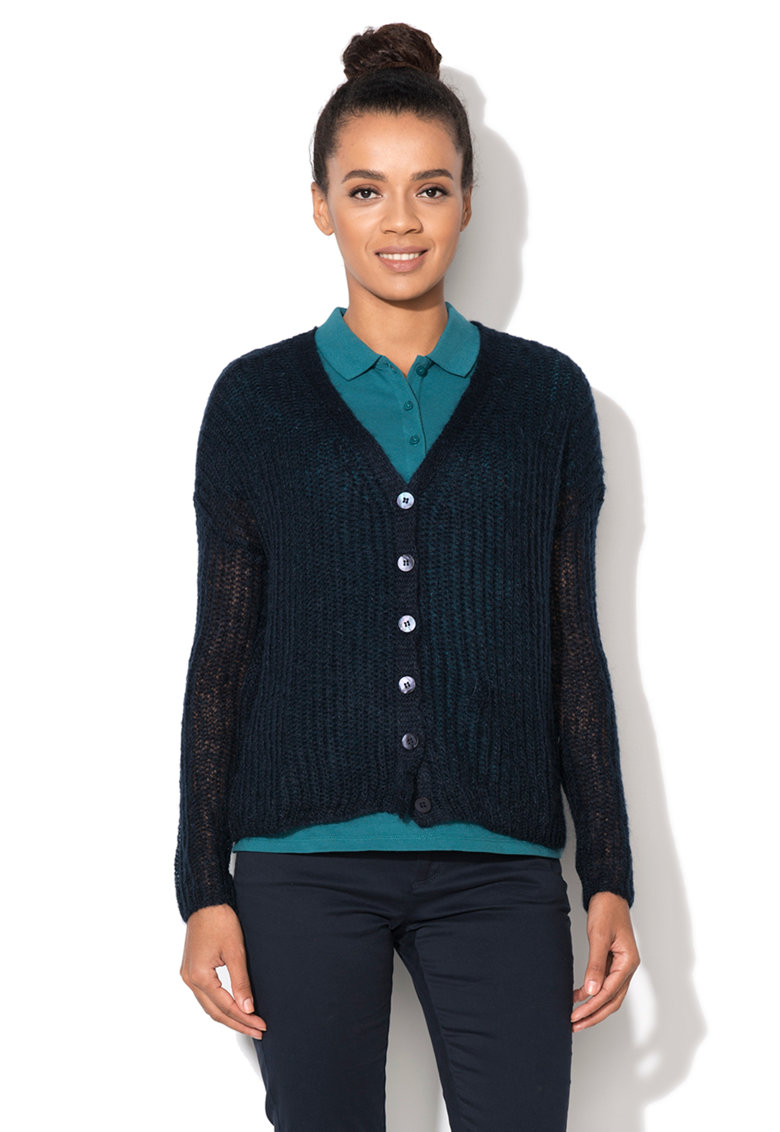 United Colors Of Benetton Cardigan bleumarin tricotat cu perforatii