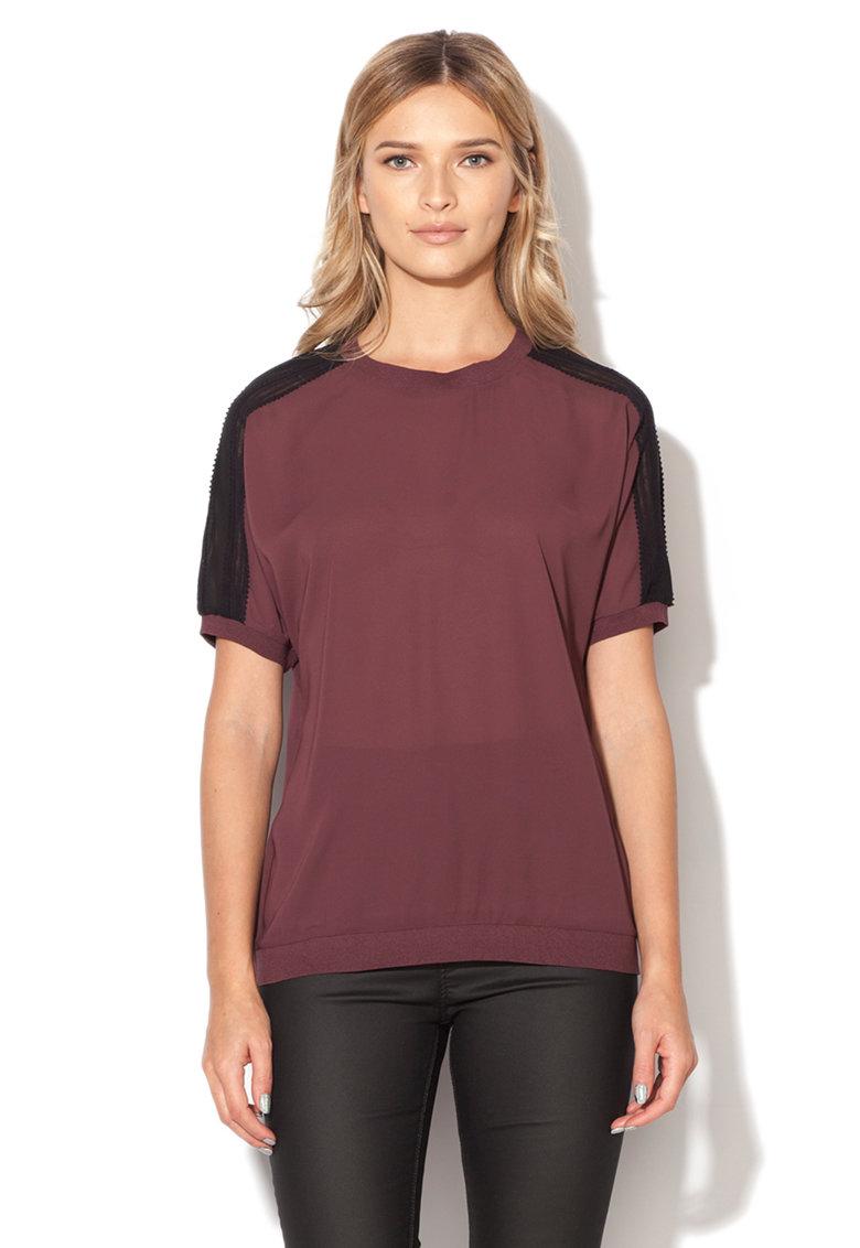 Mexx Bluza purpurie semitransparenta cu insertii negre