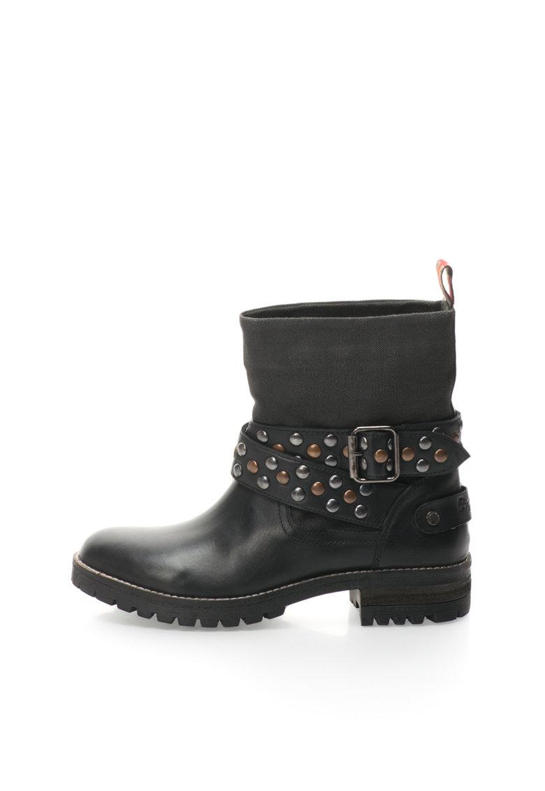 Pepe Jeans London Ghete negre cu insertii de piele Helen