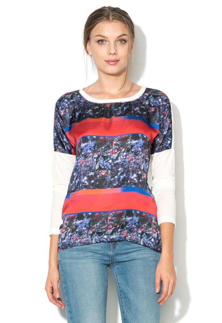 Bluza alba cu imprimeu multicolor Cineria