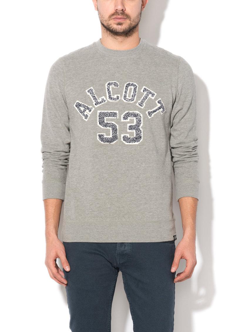 Alcott Bluza sport gri melange cu logo brodat