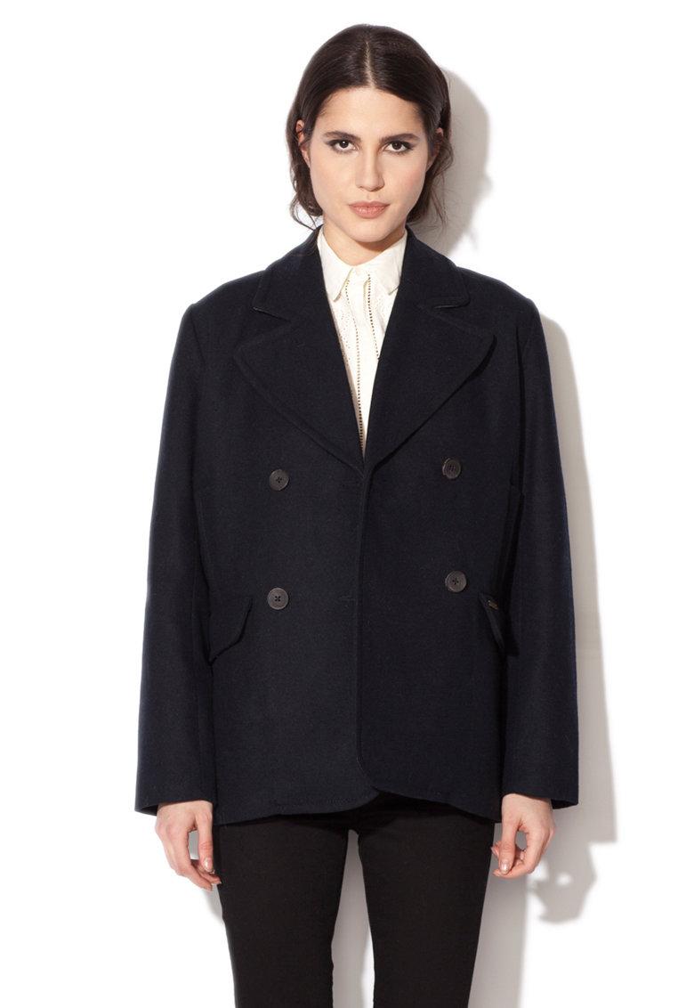 Pepe Jeans London Palton negru din amestec de lana Haze
