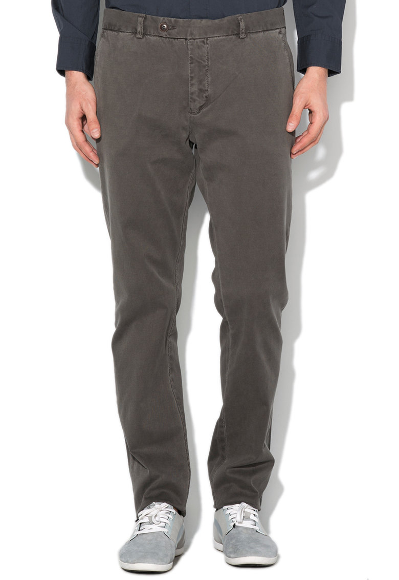 Pantaloni slim fit gri inchis texturati de la Mexx