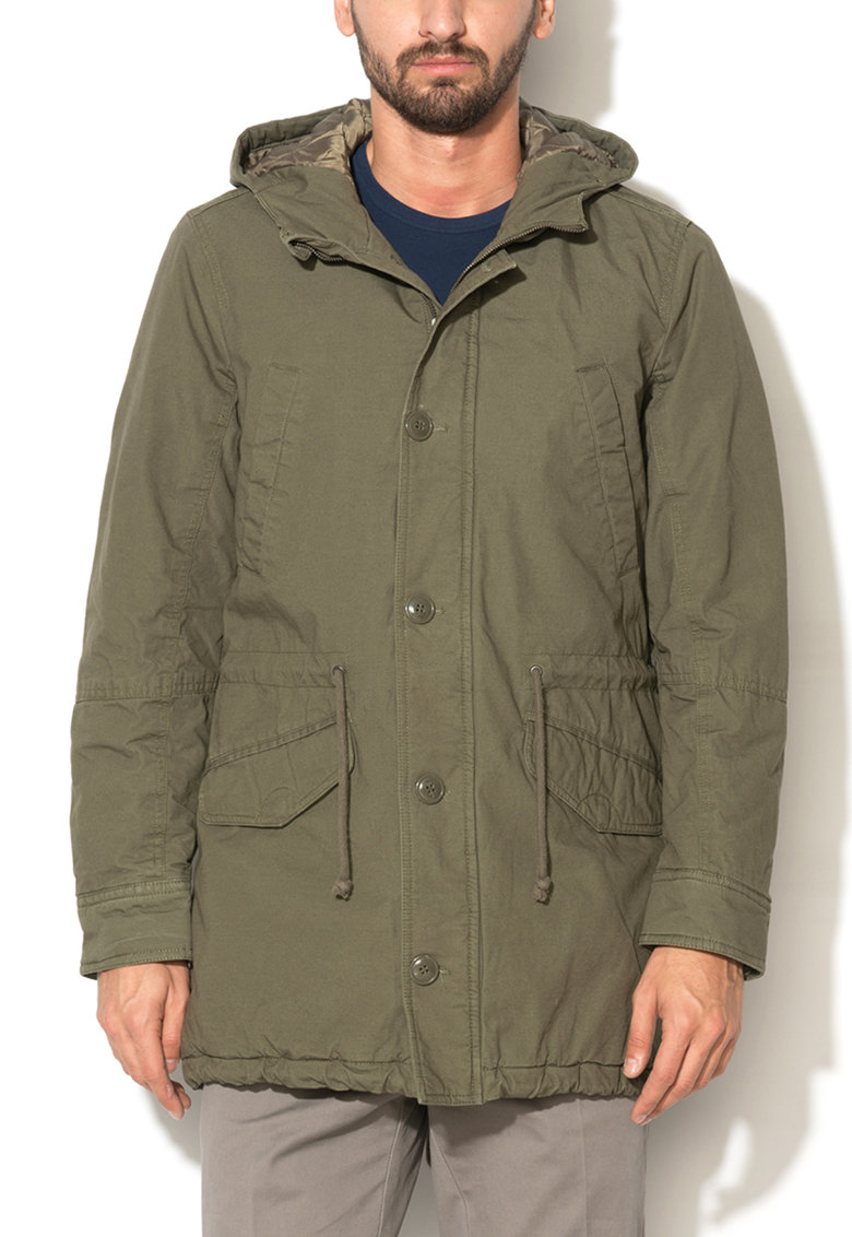 United Colors Of Benetton Jacheta parka regular fit verde oliv cu captuseala matlasata