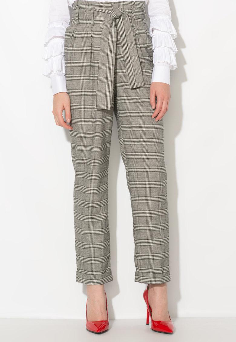 Zee Lane Collection Pantaloni gri cu negru cu talie inalta