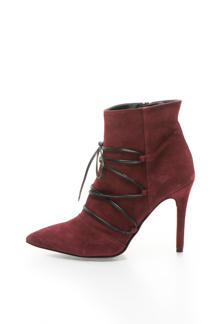 Zee Lane Collection Botine Bordeaux de piele intoarsa cu toc stiletto