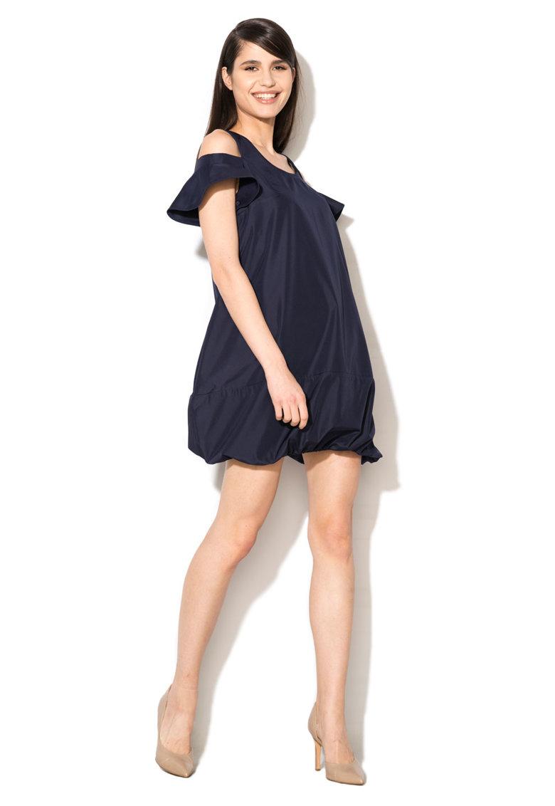 Rochie bleumarin cu terminatie elastica