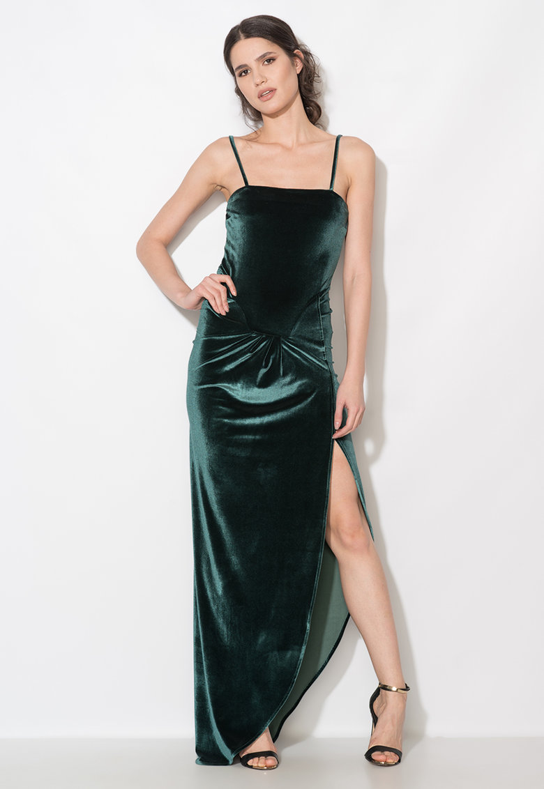 Zee Lane Collection Rochie lunga verde inchis catifelata cu slit lateral