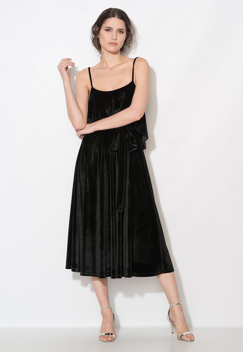 Rochie neagra catifelata cu cordon