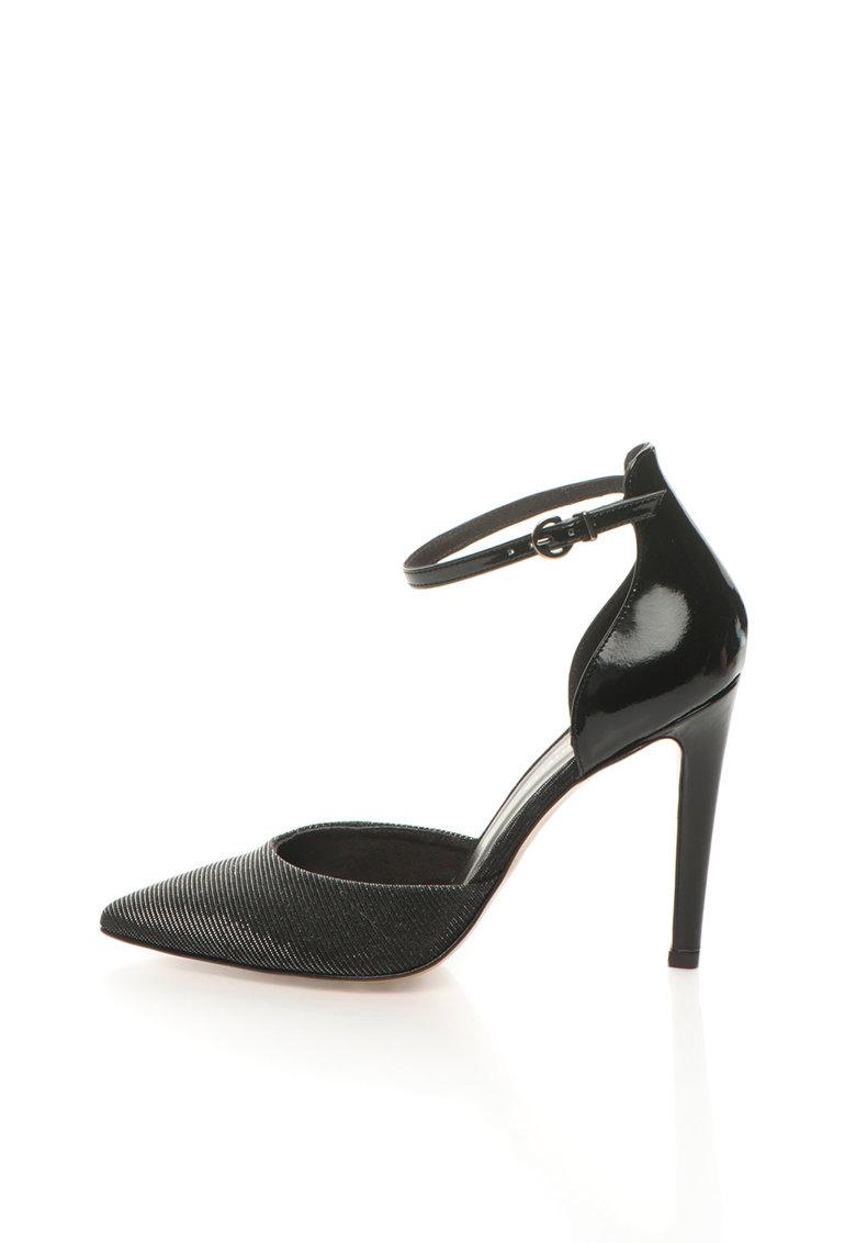 Roberto Botella Pantofi negri cu bareta pe incheietura si irizatii