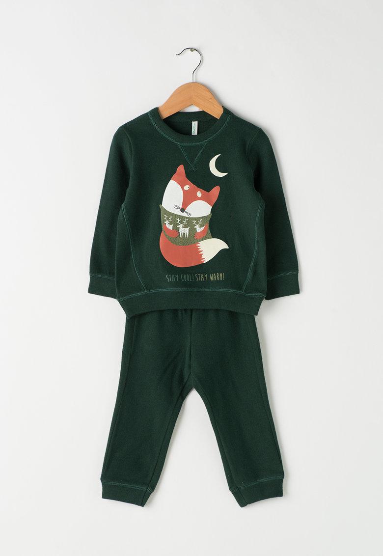Undercolors of Benetton Pijama verde inchis cu imprimeu cu vulpe