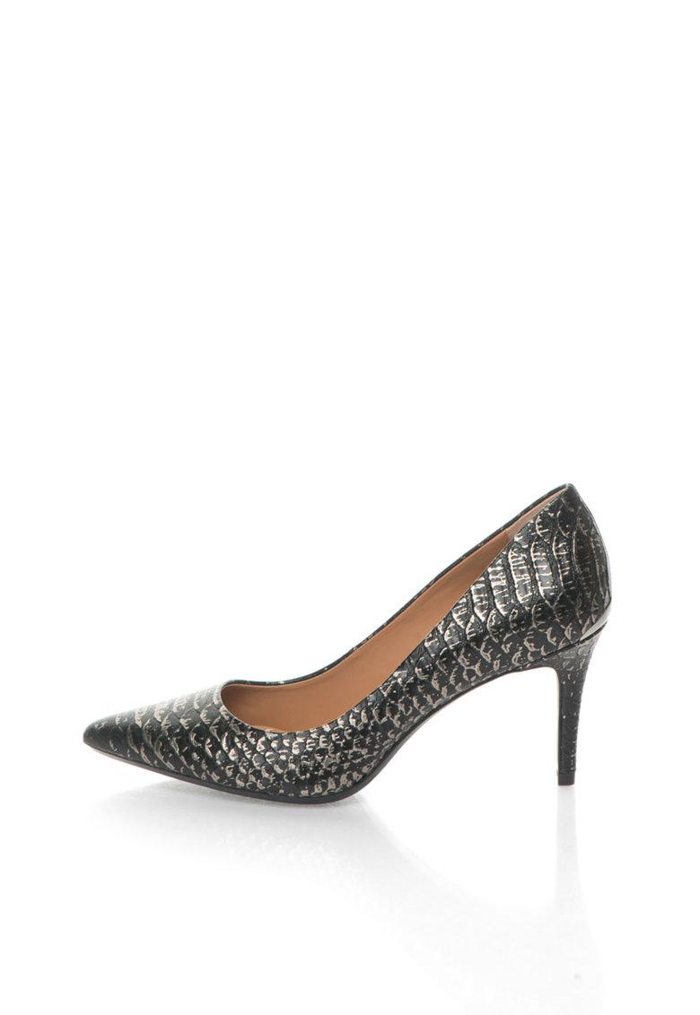 Calvin Klein Pantofi negru cu argintiu de piele cu model sarpe Gayle