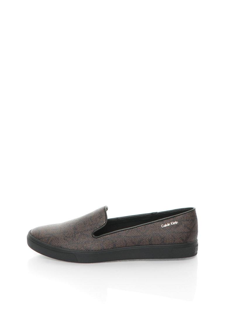 Calvin Klein Pantofi slip-on maro cu model logo Hyacinth