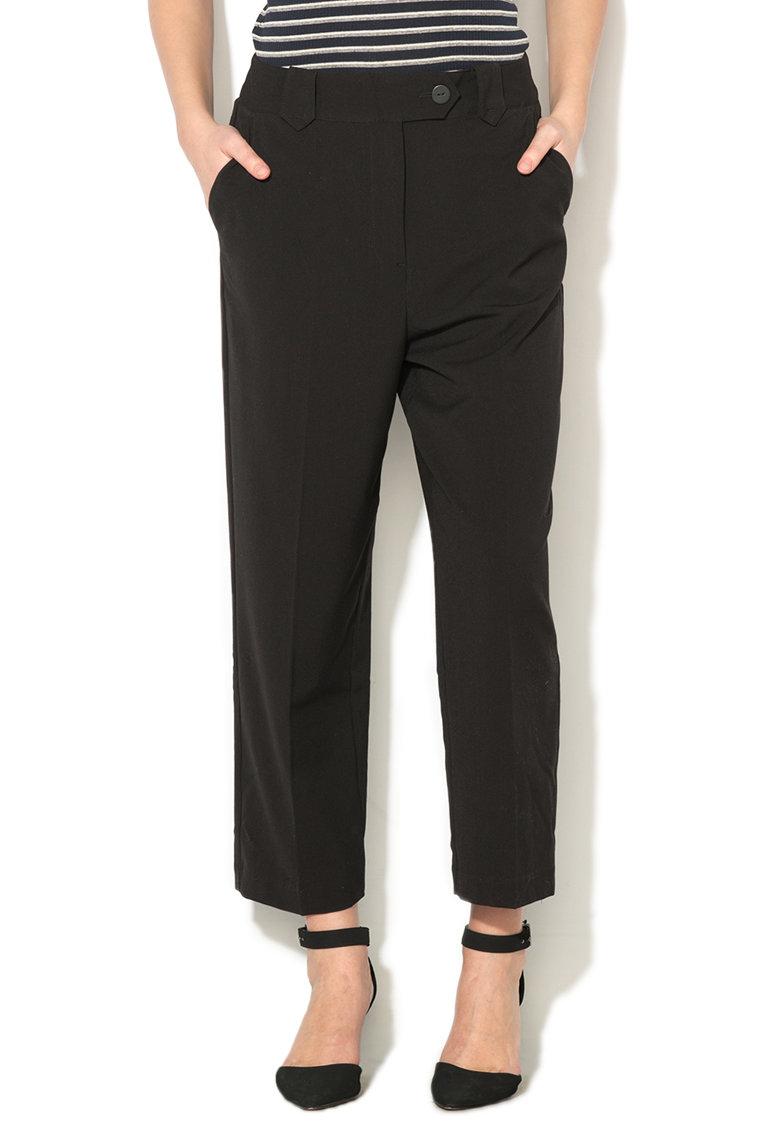 Pantaloni crop negri cu croiala lejera Vander