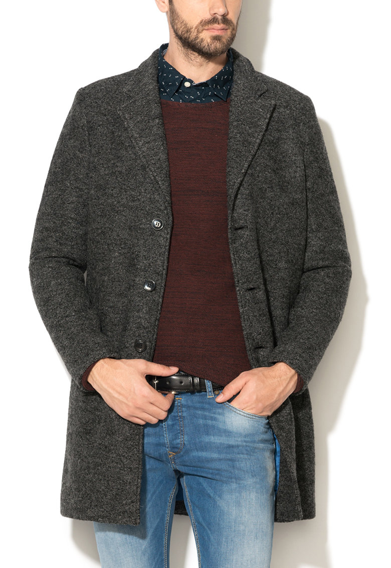 Selected Homme Haina gri inchis melange din boucle