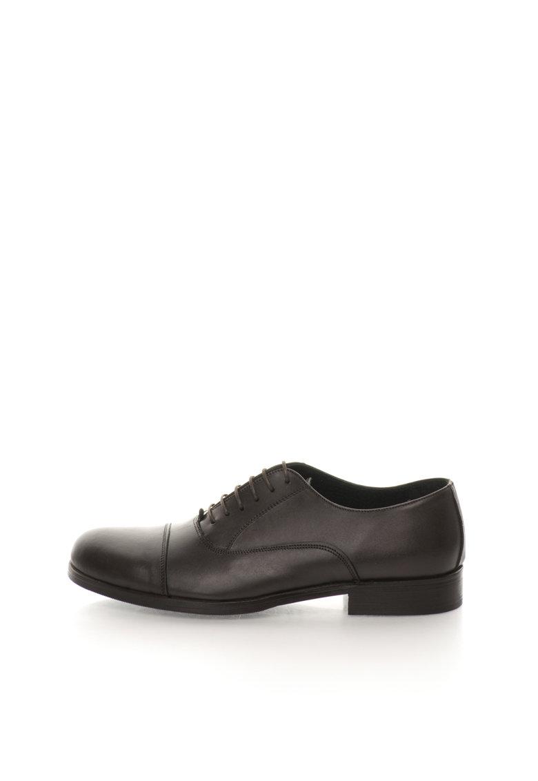 Pantofi maro inchis de piele cu aplicatie cap-toe Elie de la Versace 1969 Abbigliamento Sportivo