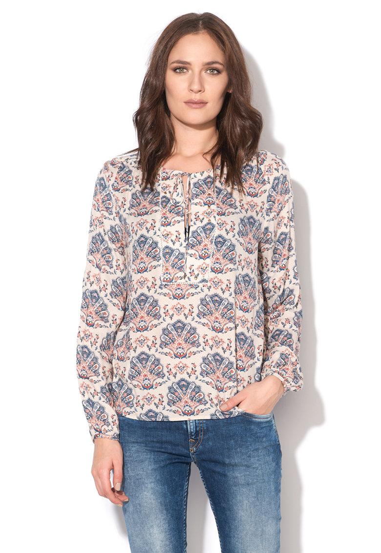 Pepe Jeans London Bluza tip tunica alb fildes cu motive orientale Nicole