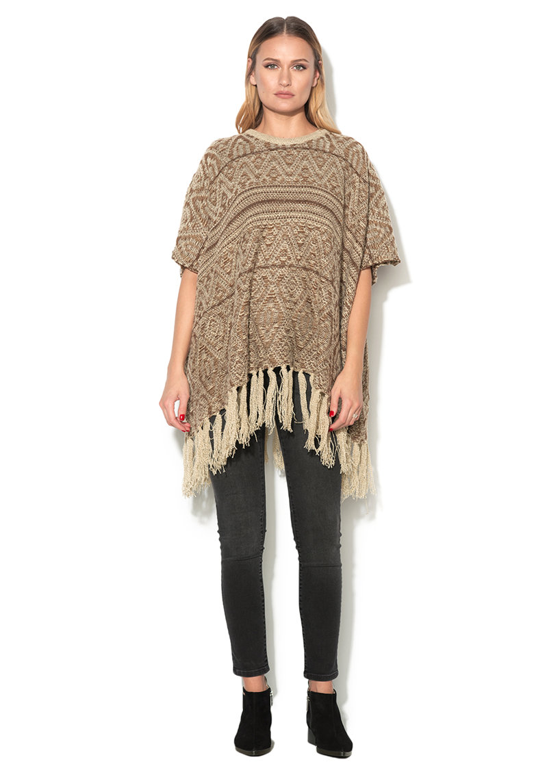 Poncho maro melange tricotat cu franjuri de la Esprit