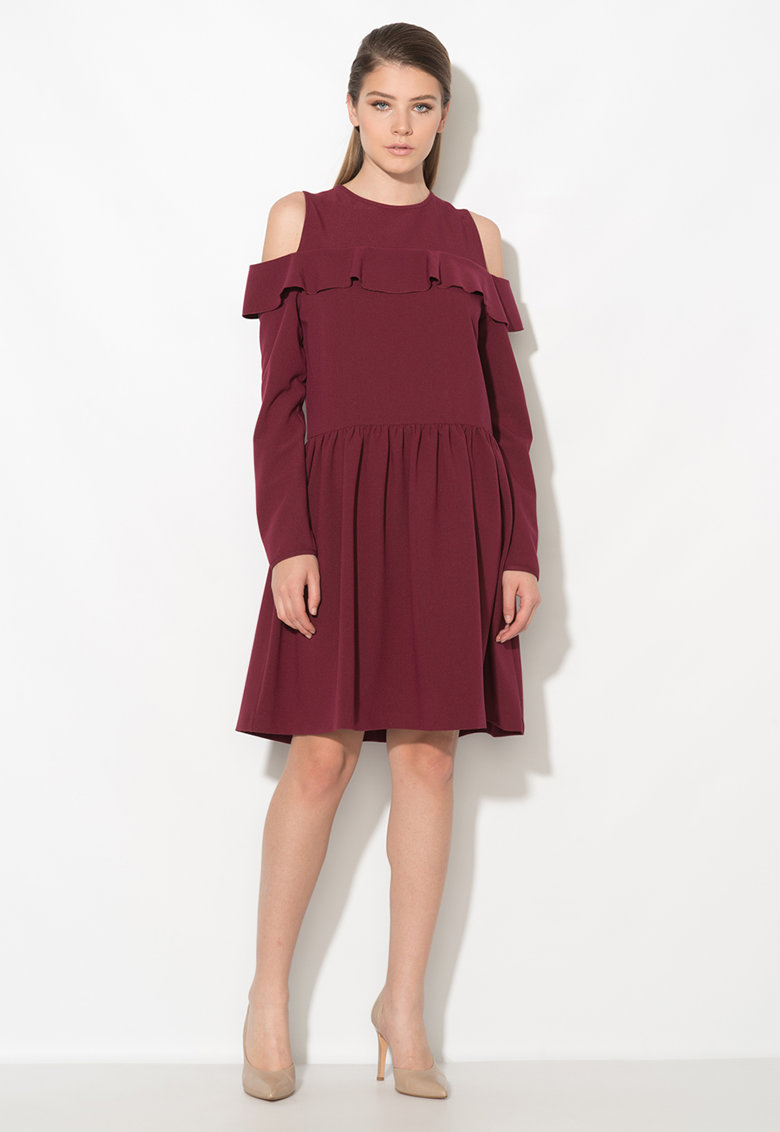 Zee Lane Collection Rochie bordeaux cu decupaje pe umeri