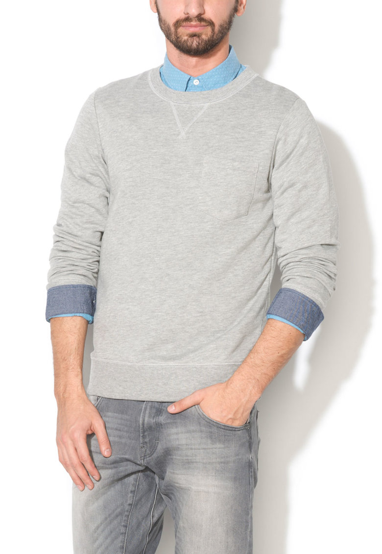 Bluza sport slim fit gri cu buzunar pe piept