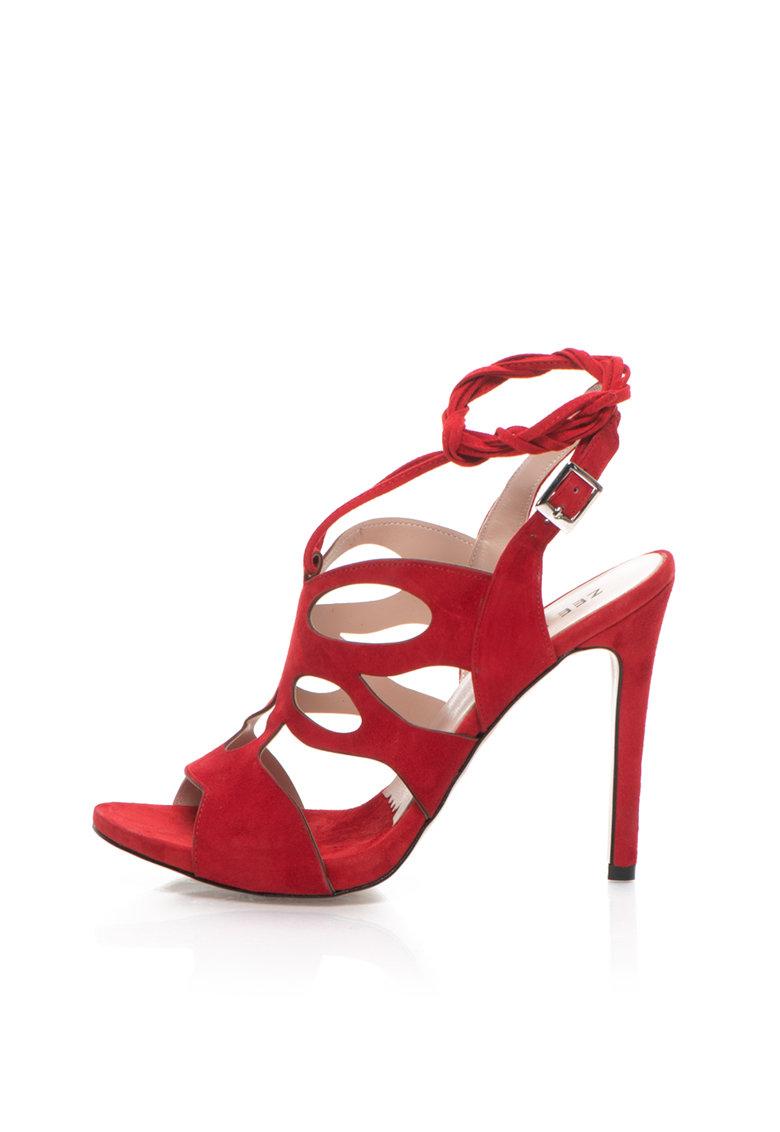 Zee Lane Sandale rosii de piele intoarsa cu decupaje