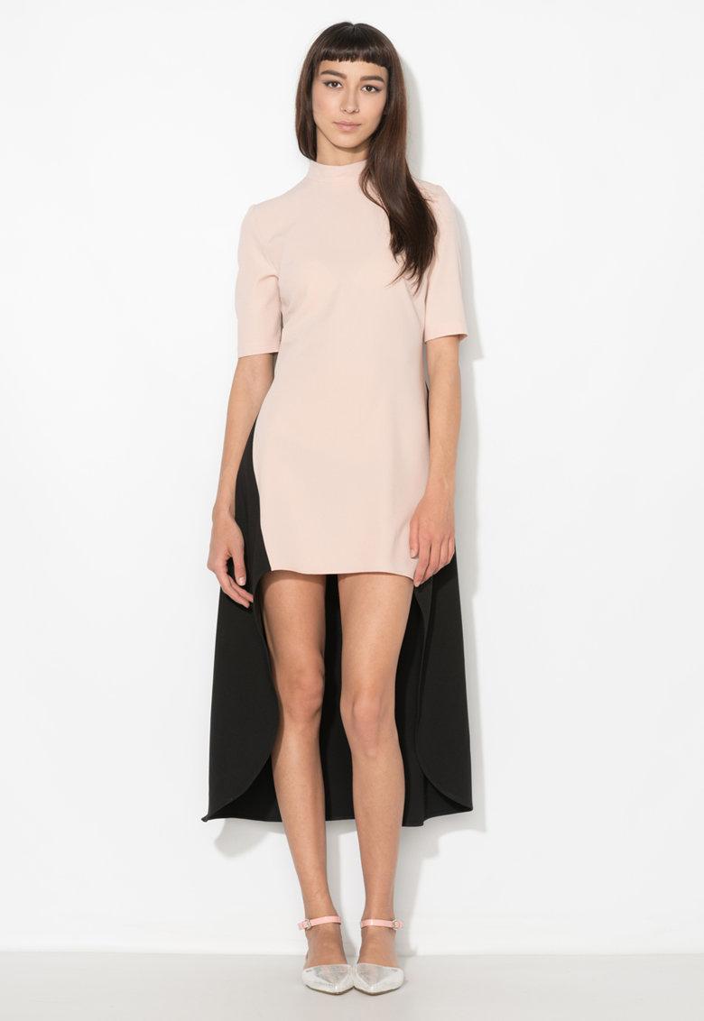 Rochie asimetrica roz pal cu negru