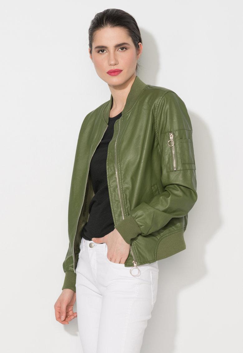 Zee Lane Denim Jacheta bomber verde de piele sintetica